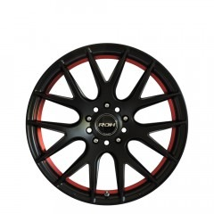 Evolution R - Matt Black Red Ring wheels