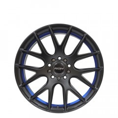 Evolution R - Matt Black Blue Ring wheels