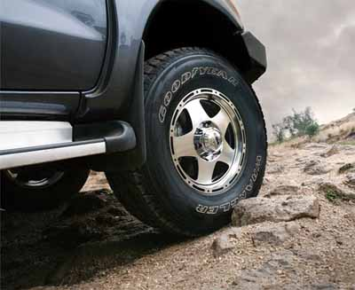 territory in a toyota hilux fitted with goodyear silent armor tyres