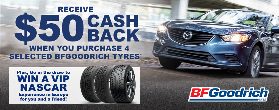 BFGoodrich - Receive $50 instant cashback and go in the draw for a European NASCAR Experience
