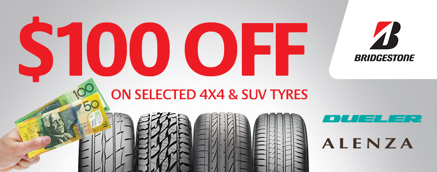 Receive $100 instant cashback on Bridgestone Dueler or Alenza tyres