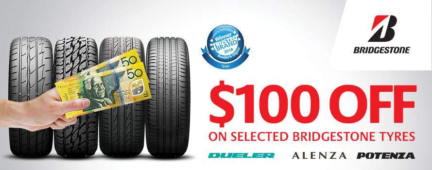 Purchase 4 selected Bridgestone tyres and receive $100 off