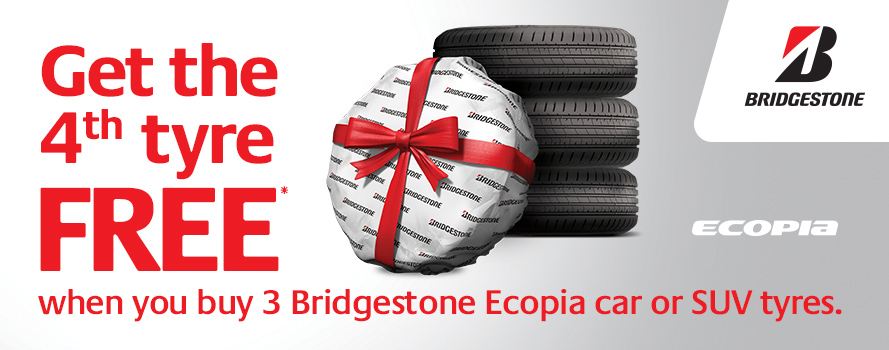 Get the 4th tyre FREE when you purchase 3 Bridgestone Ecopia car or SUV tyres
