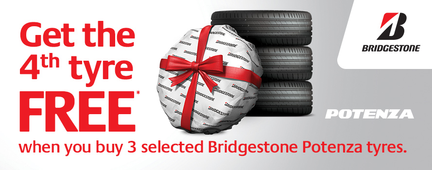 Get the 4th tyre FREE when you purchase 3 selected Bridgestone Potenza tyres