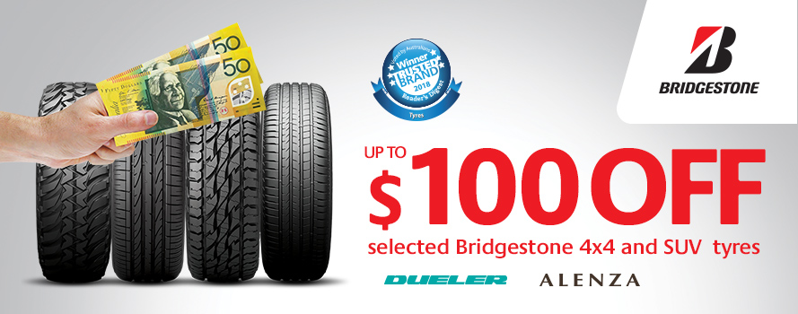 Receive up to $100 instant cashback on Bridgestone Dueler or Alenza tyres