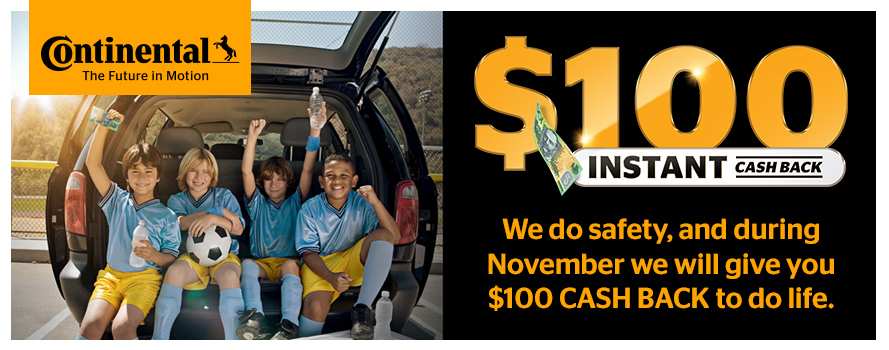 Buy 4 selected Continental tyres and receive $100 instant cash back!