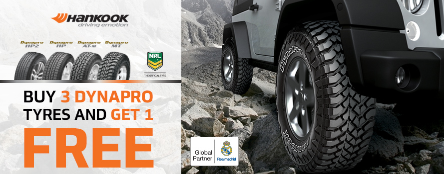 Purchase 3 Hankook Dynapro tyres and receive 4th tyre free