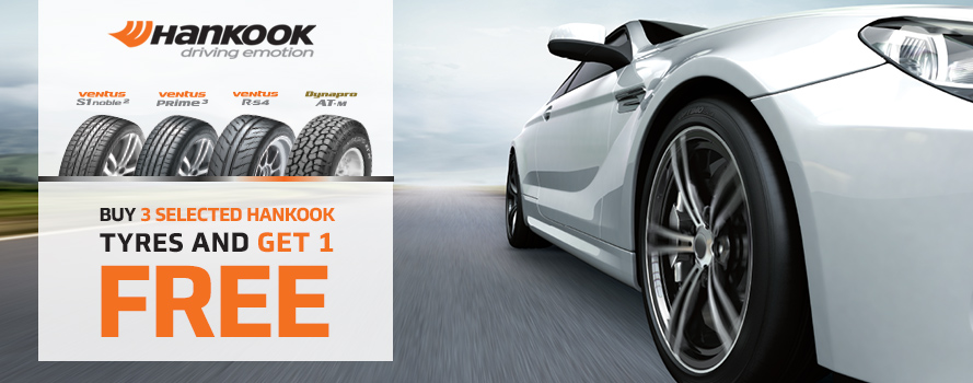 Purchase 3 Hankook Dynapro or Ventus tyres and receive the 4th tyre FREE