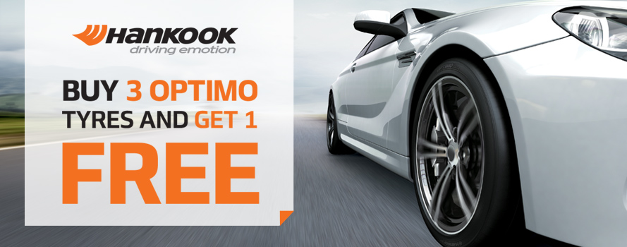 Purchase 3 Hankook Optimo tyres and receive the 4th tyre FREE