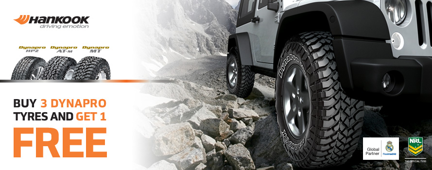 Purchase 3 Hankook Dynapro tyres and receive the 4th tyre FREE