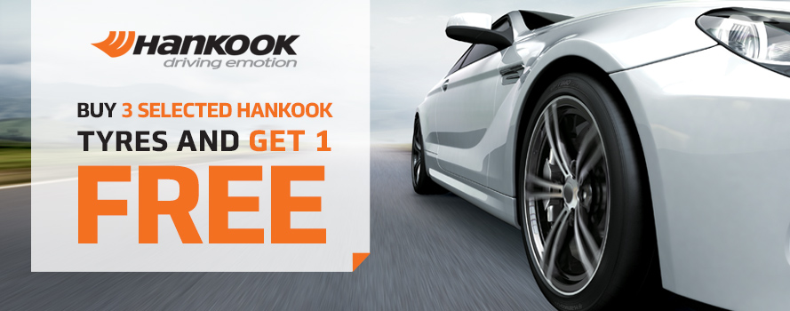 Purchase 3 Hankook Ventus or Optimo tyres and receive the 4th tyre FREE