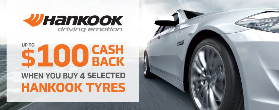Receive $100 instant cash back on Hankook Ventus or Kinergy tyres