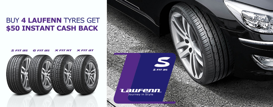 Receive $50 instant cash back on Laufenn tyres